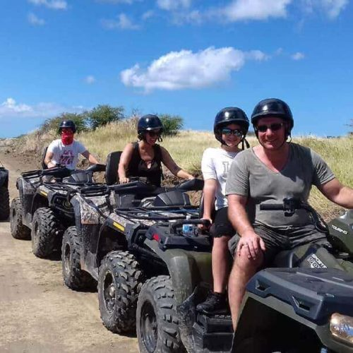 Several Quad Bikes Heading On A Tour In Gozo, Malta