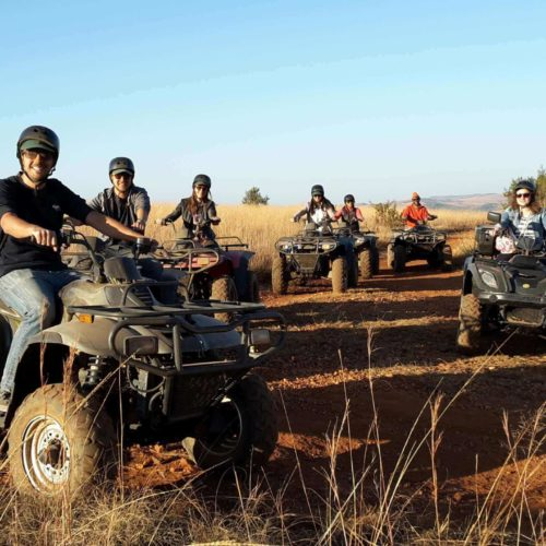 Several People On Their Quad Bikes Heading On A Tour In Gozo, Malta
